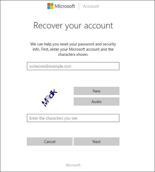 Enter the Microsoft account and characters