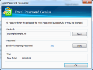 iSunshare Excel Password Recovered