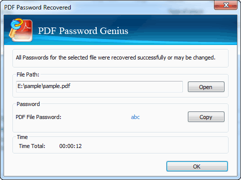 Password Recovered with iSunshare PDF Password Genius