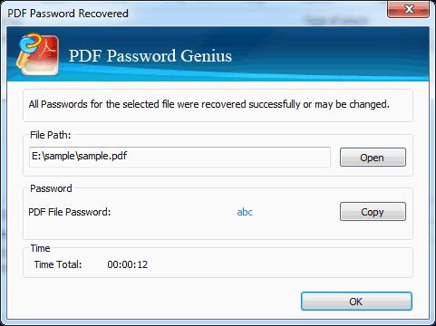 Password Recovered with iSunshare PDF Password Genius