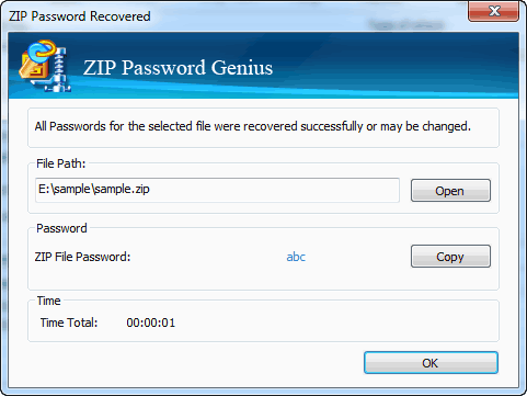 Password Recovered with ZIP Password Recovery