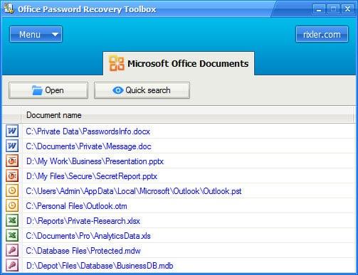 Rixler Office Password Recovery Toolbox