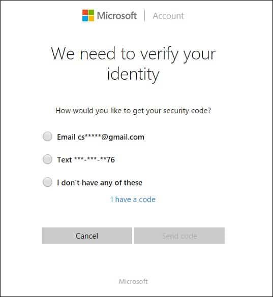 Verify identity to reset Microsoft account password