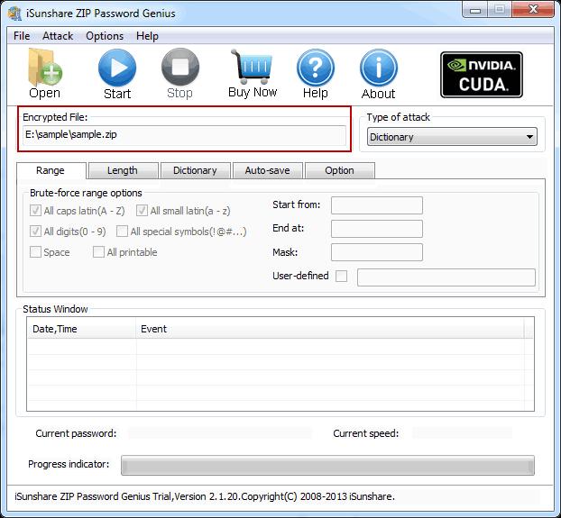 open password-protected zip file with isunshare zip password genius