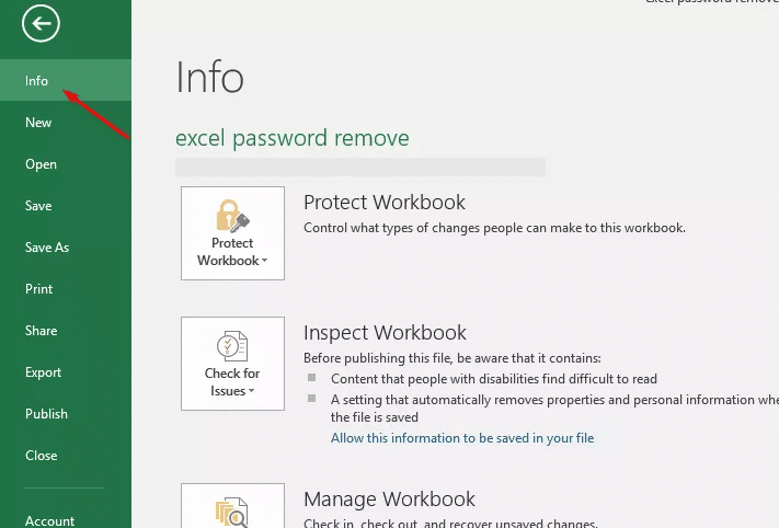 click file and info tab to unprotect Excel sheet