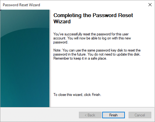 Completing the password reset for the locked computer