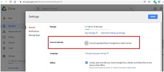 convert uploaded PDF file in Google drive