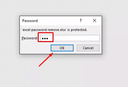 enter password to open the protected Excel file