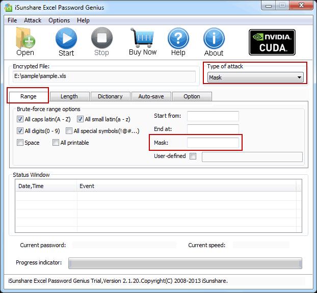 choose password recovery type to remove Excel password