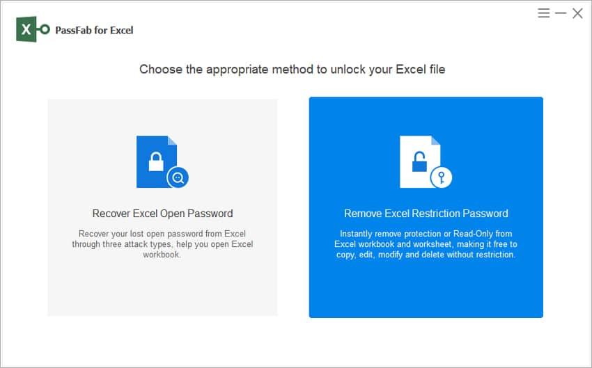 PassFab's Excel file unlocking options
