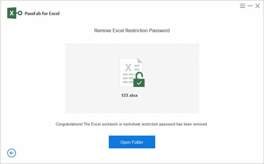 PassFab for Excel - The Excel workbook or worksheet password has been removed