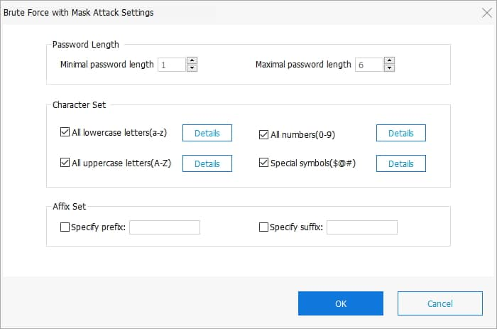 PassFab for ZIP - Brute force with mask attack