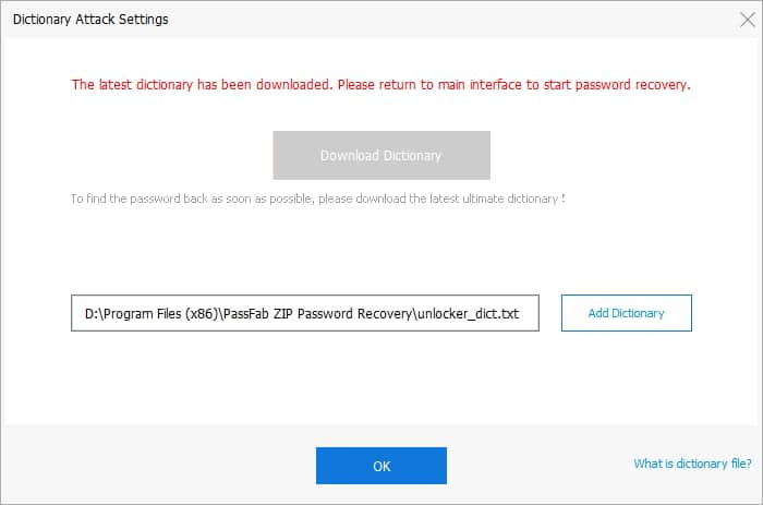 PassFab for ZIP - Dictionary attack settings