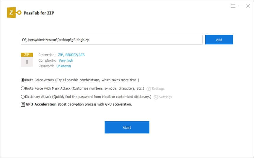 Select attack type to bypass ZIP password-protected file on PassFab for ZIP