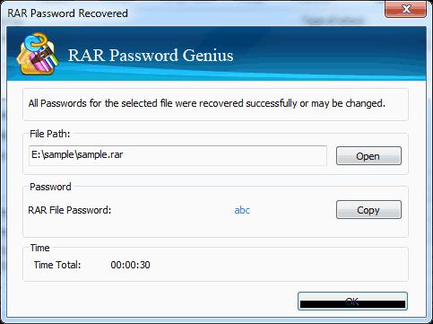 Rar Password Recovered