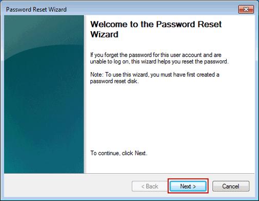 password reset wizard on Windows 7