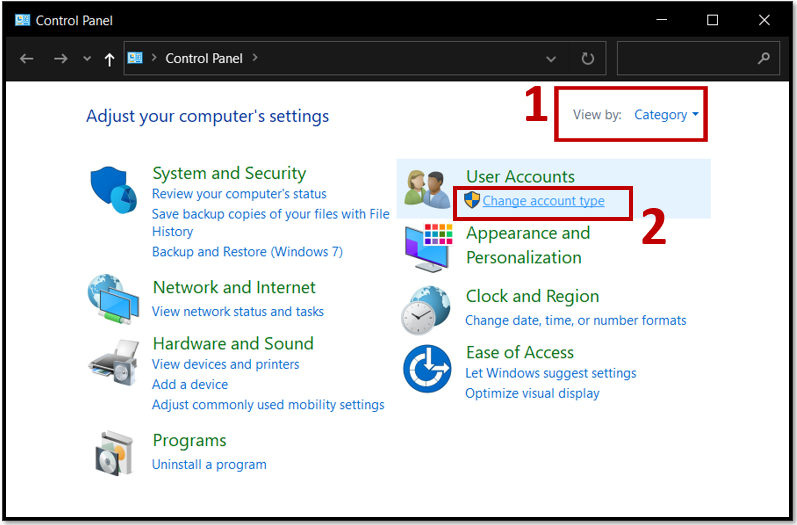 Select change account type to change Windows 10 password from the control panel