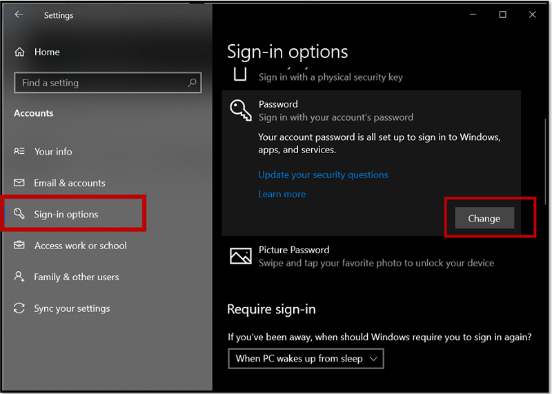 Change password from Sign-in options on Windows 10