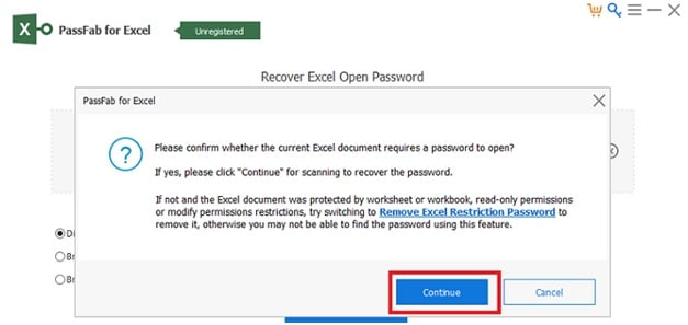 confirm excel document require a password