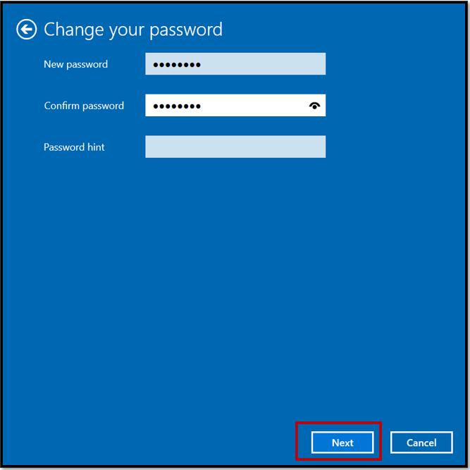 Change your password window on Windows 10