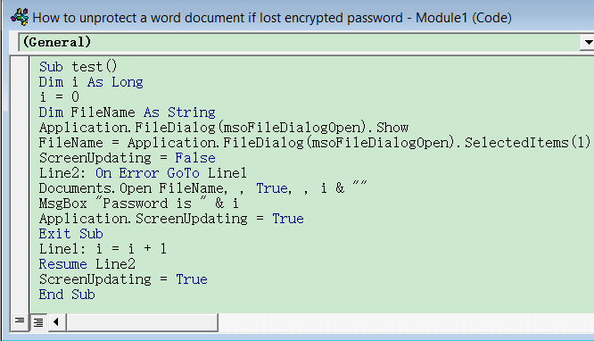 enter the code to unlock the Word file