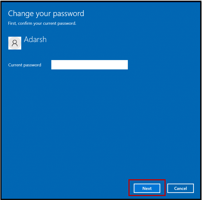 Enter the current password on Windows 10 to change the password