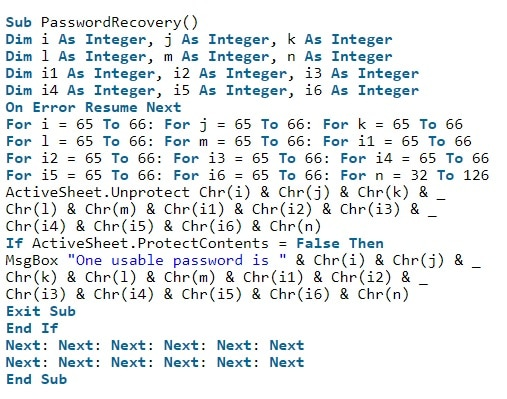 Enter the VBA code to recover Excel password