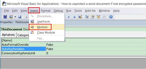 unlock password protected Word document with VBA code