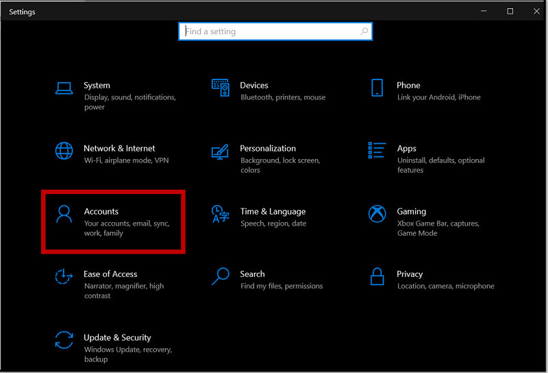 Choose Account to disable privacy options on Windows 10