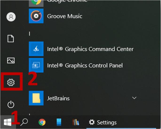 Open Settings on Windows 10