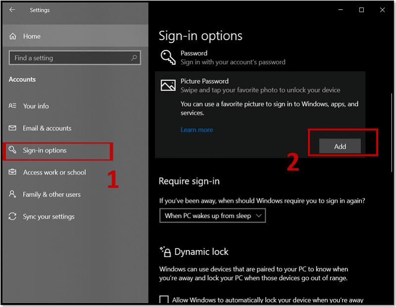 Change Windows 10 password to Picture password