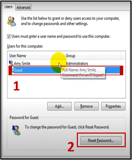 Select the user account and click reset password from netplwiz on Windows 10