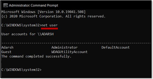 Type net user on Windows 10 command prompt
