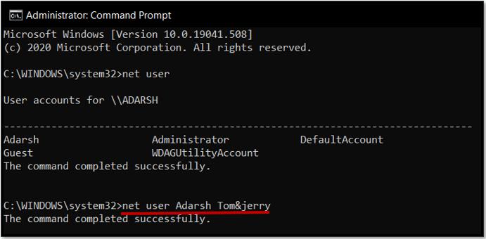 reset windows 10 admin password with net user command