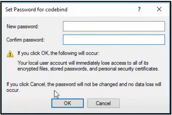 Type the new password and click ok to change password on Windows 10