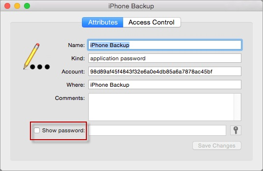 check show iTunes backup password