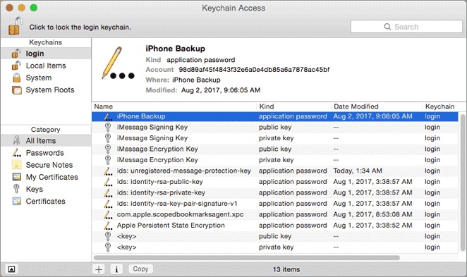 iPhone backup detail