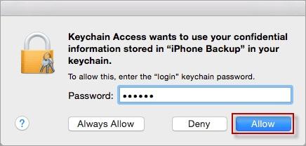 provide login itunes backup password