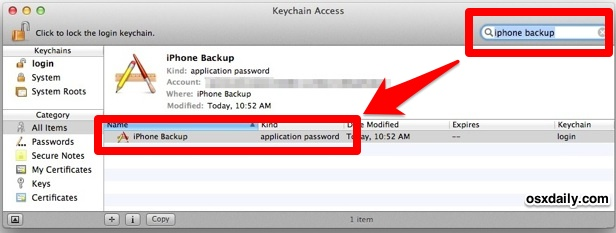 the search result for iPhone backup