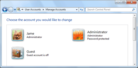 a list of windows 7 account