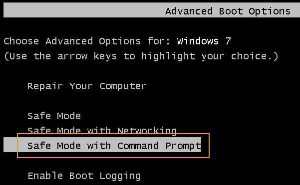 advanced boot option in windows 7