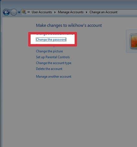 change the password on Windows 7