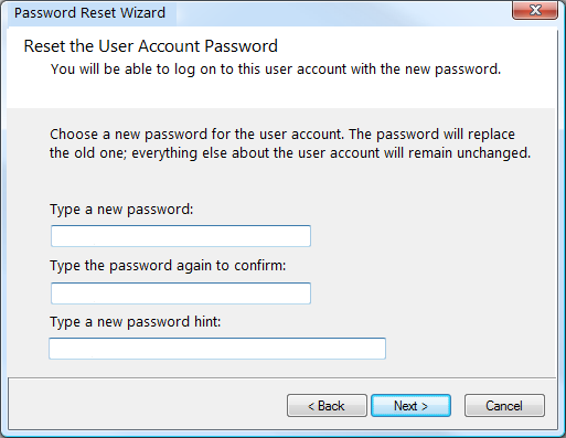 enter new password in windows 7