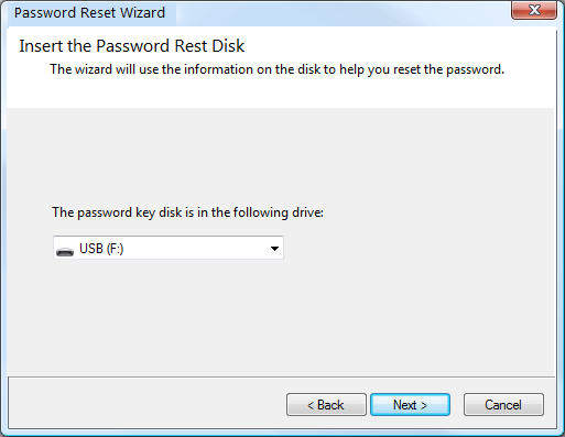 Selecting the Password Reset Disk Drive from Password Reset Wizard