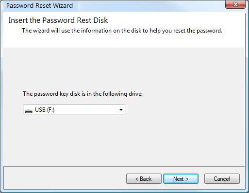 insert the password reset disk in windows 7