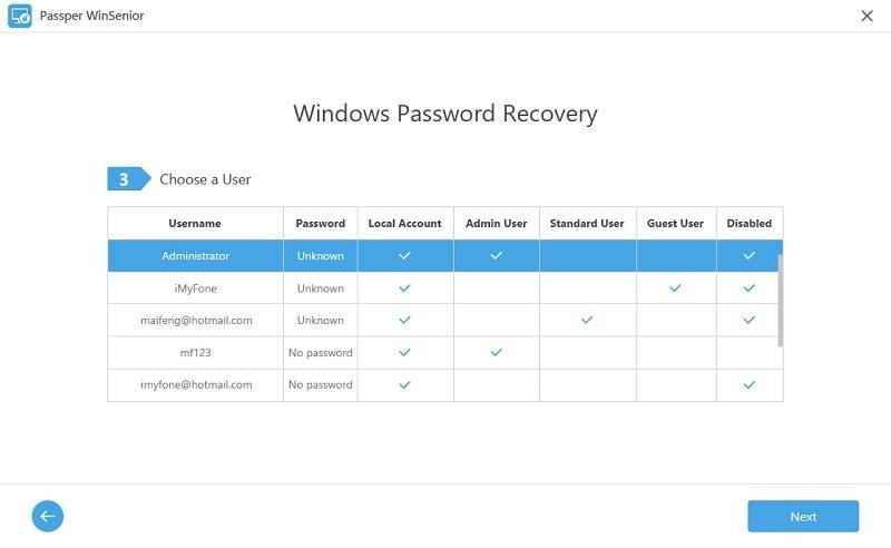 choose a windows user