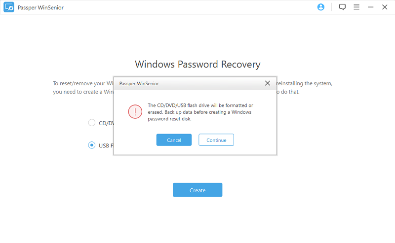 passper winsenior create reset disk