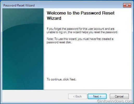 Starting the password reset wizard