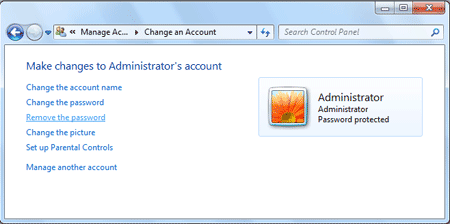 remove administrator password in windows 7