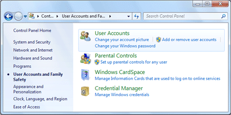 user accounts in windows 7